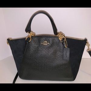 COACH Pebbled Black Leather Suede Small Kelsey Bag